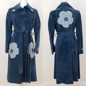 Rare Vintage Blue Suede Flower Power Belted Trench